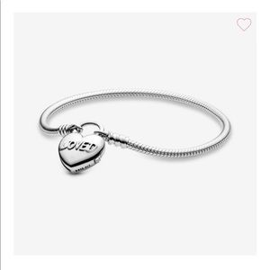 Pandora Moments Heart Padlock Clasp Snake Chain